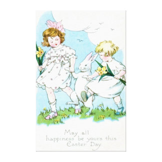 Girl Easter Bunny Jonquil Daffodil Field Canvas Print