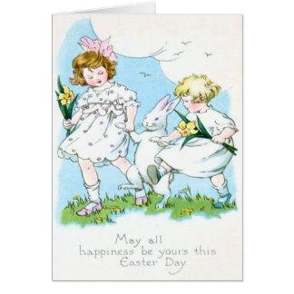 Girl Easter Bunny Jonquil Daffodil Field Card