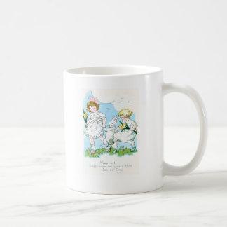 Girl Easter Bunny Jonquil Daffodil Field Coffee Mug