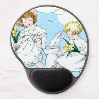 Girl Easter Bunny Jonquil Daffodil Field Gel Mouse Pad