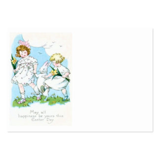 Girl Easter Bunny Jonquil Daffodil Field Large Business Card