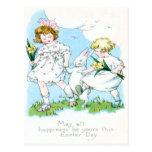 Girl Easter Bunny Jonquil Daffodil Field Postcard