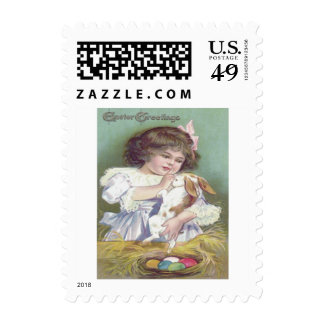 Girl Easter Bunny Nest Colored Egg Postage