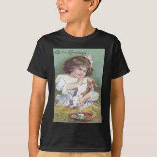 Girl Easter Bunny Nest Colored Egg T-Shirt