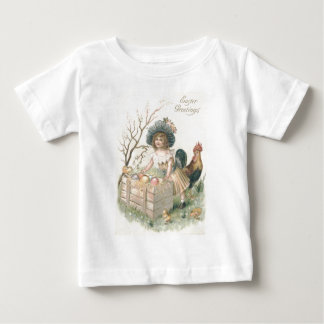 Girl Easter Chick Rooster Colored Egg Baby T-Shirt