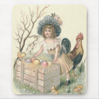 Girl Easter Chick Rooster Colored Egg Mouse Pad