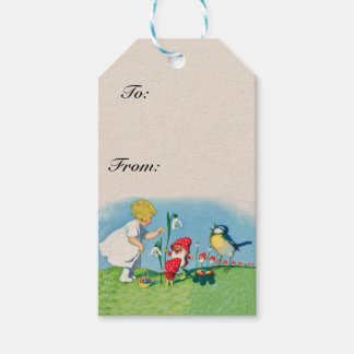 Girl elf gift tags zazzle girl easter lilly gnome elves singing bird basket gift tags negle Images