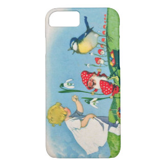 Girl Easter Lilly Gnome Elves Singing Bird Basket iPhone 8/7 Case