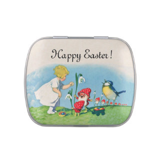 Girl Easter Lilly Gnome Elves Singing Bird Basket Jelly Belly Candy Tin