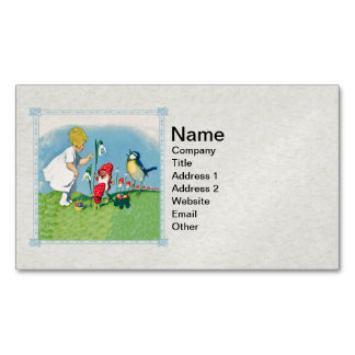 Girl Easter Lilly Gnome Elves Singing Bird Basket Magnetic Business Card