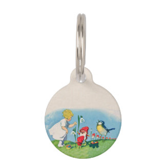 Girl Easter Lilly Gnome Elves Singing Bird Basket Pet ID Tag