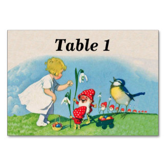 Girl Easter Lilly Gnome Elves Singing Bird Basket Table Cards