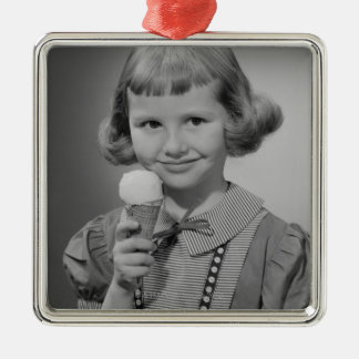 Girl Eating Ice Cream Metal Ornament