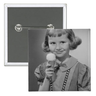 Girl Eating Ice Cream Pinback Button