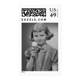 Girl Eating Ice Cream Postage Stamps