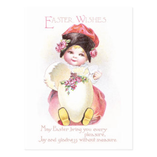Girl, Egg and Roses Vintage Easter Postcard
