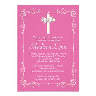Girl Elegant Baptism Christening Elegant Cross Personalized Invitation