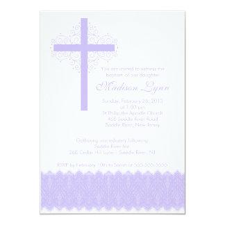 Girl Elegant Lace  Baptism   Christening Cross Card