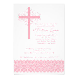 Girl Elegant Lace Baptism Christening Cross Personalized Invites