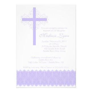 Girl Elegant Lace Baptism Christening Cross Custom Invite