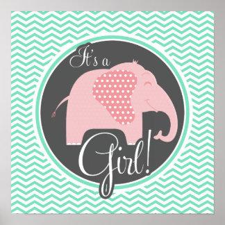Girl Elephant; aqua Green Chevron Poster