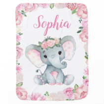 Girl Elephant Baby Blankets Pink Floral Name