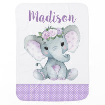 Girl Elephant Baby Blankets Purple Polka
