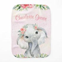 Girl Elephant Baby Burp Cloth