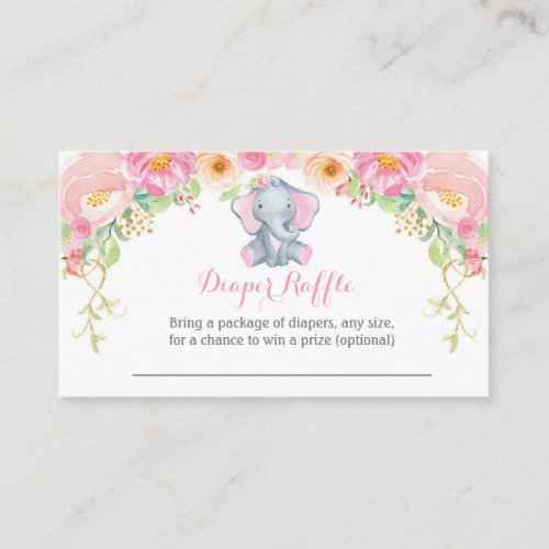 Girl Elephant Baby Shower Diaper Raffle Card