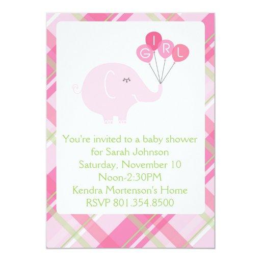 girl elephant baby shower invitation zazzle