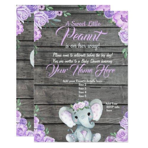 Girl Elephant Baby Shower Invitation rustic purple