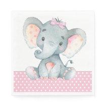 Girl Elephant Baby Shower Paper Napkins