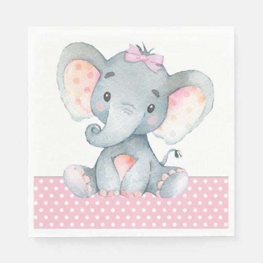Girl Elephant Baby Shower Paper Napkins | Zazzle.com