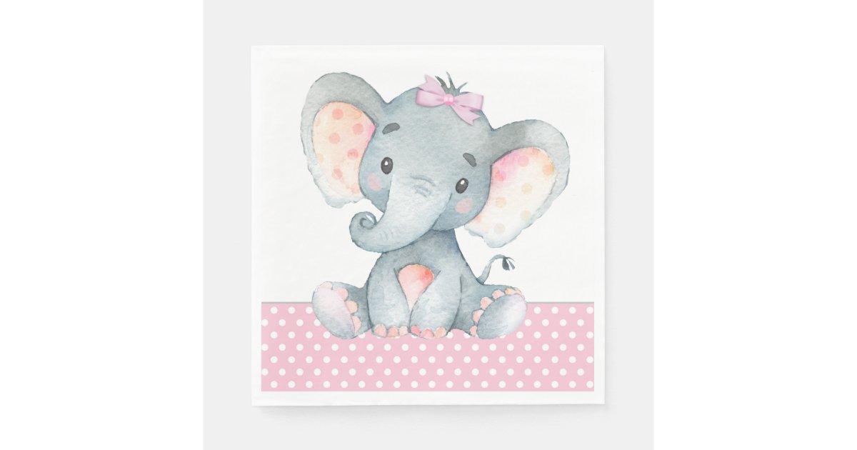 Girl Elephant Baby Shower Paper Napkins Zazzle Com