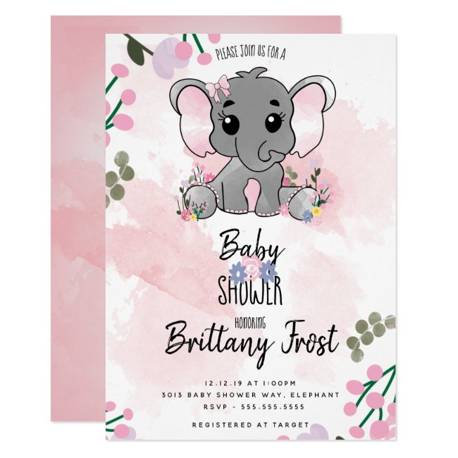 Girl Elephant Baby Shower Pink Floral Invitation