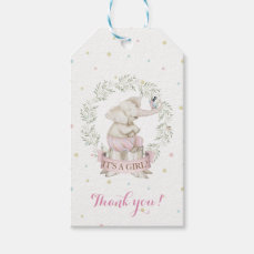 Girl Elephant Baby Shower Pink Green Beige Gift Tags