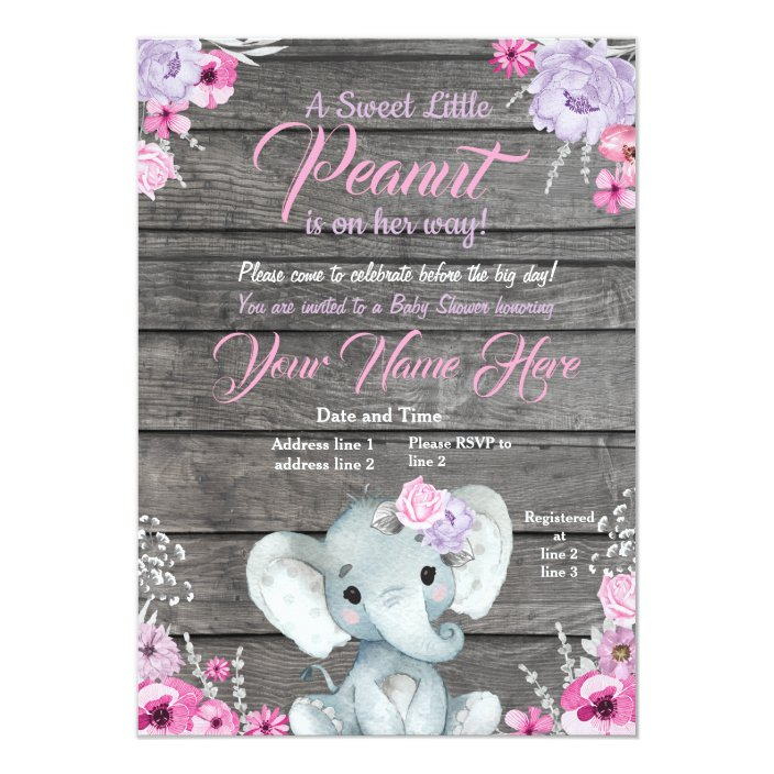 Girl Elephant Baby Shower Rustic Pink Purple Invitation Zazzle Com