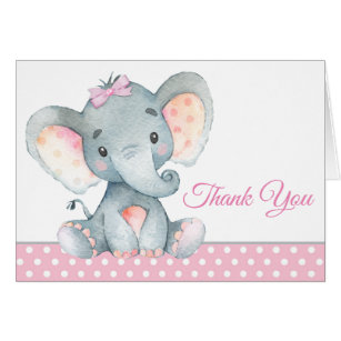 High Quality Girl Elephant Baby Shower Thank You Cards