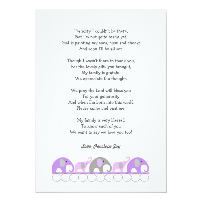 Girl Baby Shower Poems: Girl Elephant Baby Shower Thank You Note With Poem Card