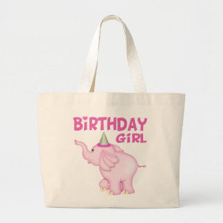 Girl Elephant Birthday Party Large Tote Bag
