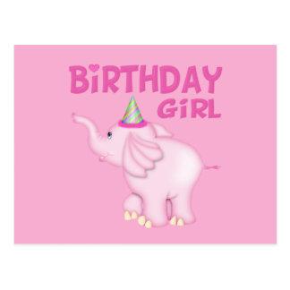 Girl Elephant Birthday Party Postcard