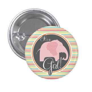 Girl Elephant, Bright Rainbow Stripes Buttons
