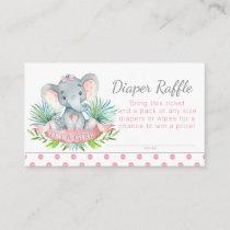 Girl Elephant Diaper Raffle Tickets Enclosure Card