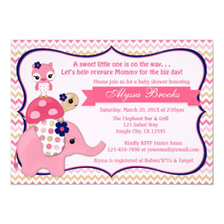 Girl Elephant Ellie Baby Shower Invitations