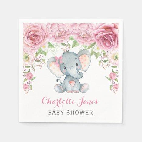 Girl Elephant Paper Napkin Pink Floral Baby Shower