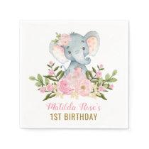 Girl Elephant Paper Napkin Pink Floral Birthday