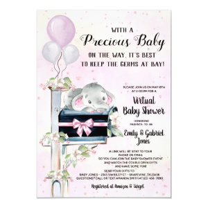 Virtual Baby Shower By Mail Invitation, Girl Elephant