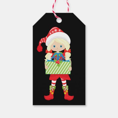 Girl Elf/Blonde/in Red with Christmas Gift Gift Tags