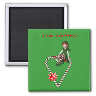 Girl Elf Candy Cane Heart Christmas Holiday Magnet