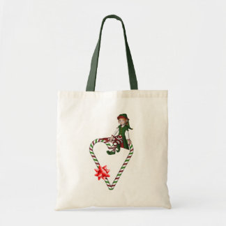 Girl Elf Candy Cane Heart Christmas Holiday Tote Bag